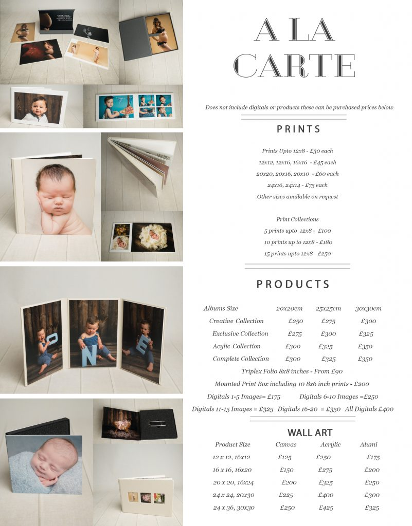 Pricing for Newborn Cakesmash Maternity Family A la Carte